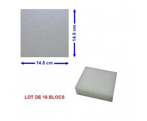 16 BLOCS POLYETHYLENE 14,5 X 14,5 X 5 cm